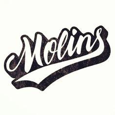 Molins #calligraphy #stamp #lettering #script #branding #penbrush #varsity #retro #black #baseball #logo #typography