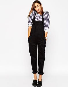 ASOS Denim Dungaree With Tie Straps in Black