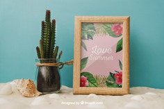 Beach concept with cactus and frame Free Psd. See more inspiration related to Frame, Mockup, Summer, Beach, Sea, Sun, Photo frame, Photo, Holiday, Mock up, Cactus, Decorative, Vacation, Sand, Summer beach, Up, Season, Concept, Composition, Mock, Summertime and Seasonal on Freepik.