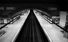Black and White Metro Station