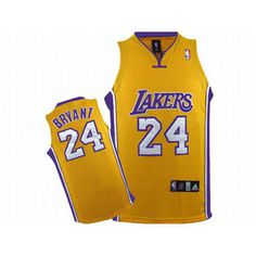 NBA Lakers Kobe Bryant #24 Yellow Jersey Purple White Number
