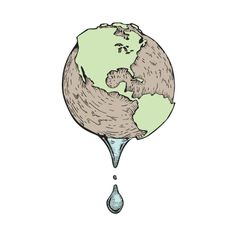 Illustration by Zach Johnson at Coroflot.com #drip #globe #water #world #environment #earth #drought #illustration #disaster #dry #art #future #droplet