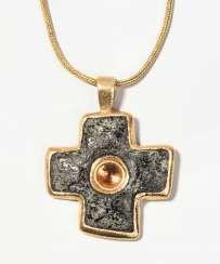 Philippe Pfeiffer Mandarin garnet-granite-cross pendant with chain