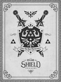 Barrett Biggers #nintendo #prints #icon #shield #brand #gaming #art #game #zelda