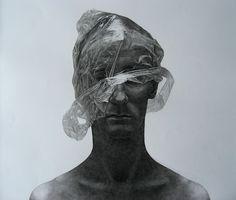 Self portrait by Jakub Konvica #white #konvica #self #black #jakub #male #portrait #bag #plastic #man #drawing