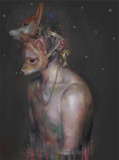 http://xhxix.tumblr.com/ #illustration #mask #painting