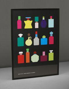 Institut Parfumeur Flores #perfume #print #poster #illustration