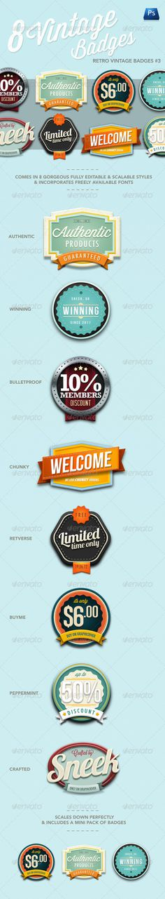 Retro Vintage Badges #3 GraphicRiver Item for Sale
