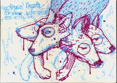 Tumblr #denne #cdr #sketchbook #ilustrao #violet #illustration #blue #dog