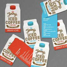 Jimmy's Iced Coffee by Interabang | Allan Peters #red #business #orange #logo #brown #light #blue #cards