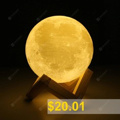 UE3D012 #Rechargeable #Touch #Switch #3D #Print #Moon #Lamp #Decor #Gift #- #WHITE