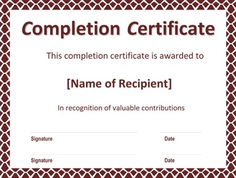 Certificate of Completion Template for Word