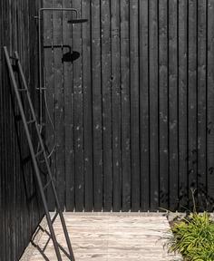 Small is Beautiful - InteriorZine - #outdoor #shower #black