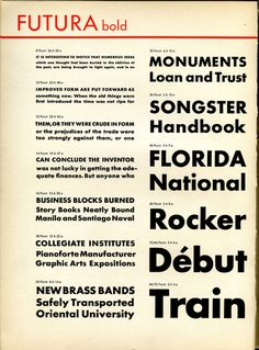 Futura Bold is shown in this vintage type specimen.Get Futura at MyFonts. #type #specimen #typography