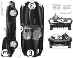 CAR blueprints - 1956 Jaguar D-Type Longnose Cabriolet blueprint #cars #vehicles