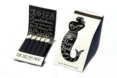 NYC's Coolest Matchbooks - Page 1 #amsterdam #inn #white #black #logo #simple #cursive #vintage #and #type #mermaid