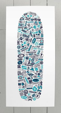 Collection of vintage (1990's) skateboard logos, redrawn and arranged within the shape of a classic 90's skate deck. Blue 901 screen print b
