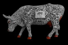 All sizes | Cow Parade - Mecanicow | Flickr - Photo Sharing! #white #red #tribal #black #illustration #painting #cowparade