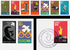 GRAPHIC AMBIENT » Blog Archive » 1968 Mexico Olympics, Mexico #lance #wyman #8 #mexico #stamps #1968 #identity #logo #olympics