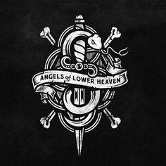 Angels of Lower Heaven | SerialThriller™ #white #illustrated #black #snake #logo #knife #bones