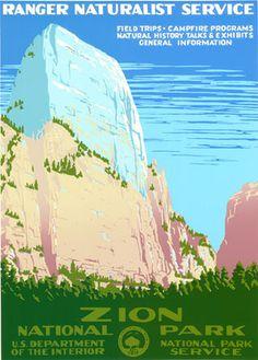Zion National Park (original coloring) #poster #utah #desert #travel #adventure #national parks #wpa #zion #zion national park