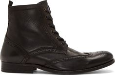H by Hudson: Black Leather Brogued Wingtip Angus Boots | SSENSE #boots