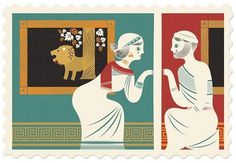 Pyramus And Thisbe / Greek / Babylonian by StudioTipi on Etsy #stamp #red #card #print #postage #lion #human #illustration