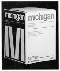 Michigan Salt Company, packaging (1969) #white #modern #packaging #black #grid #and