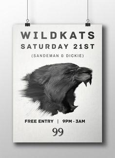 Wild Kats Poster #wild #teeth #djs #illustrator #kats #kat #canvas #furry