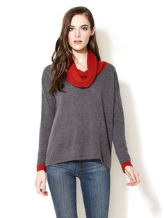 Design History Colorblock Cowl Neck Sweater
