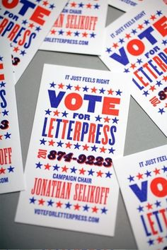 Vote For Letterpress Business Card - FPO: For Print Only