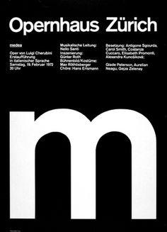 Ruedi Rüegg — Medea M, poster for Opernhaus (1972) #white #modern #black #grid #poster #and