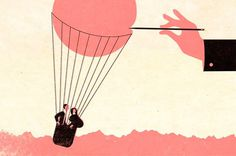 André da Loba #couple #flight #balloon #illustration #needle