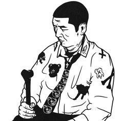 #black #black and white #street #art #streetart #streetfashion #graphic #man #illust #illustration #magazine #design #artwork #man #white #l