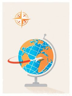 bhurst-globe-illustration.png (PNG Image, 567x754 pixels) #illustration #plane #globe