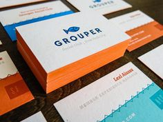 Grouper Business Cards #edge #miller #business #painted #kyle #letterpress #anthony #cards #grouper