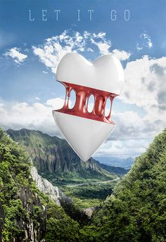 Let it go on Behance #cgi #computer generated #heart #broken #landscape #clouds #sky
