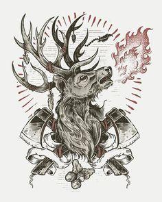 Derrick Castle, #axe #deer #fire