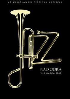 jazz.jpg 600×849 pixels #typography #type #jazz #black #horn #trumpet #brass
