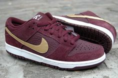 Nike SB Dunk Low Pro (Deep Burgundy/Metallic Gold) | The Daily Street #burgundy #nike #sneakers #gold #trainers