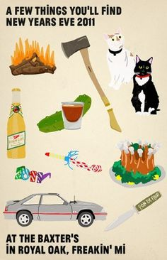 All sizes | NEW YEARS IN MICHIGAN | Flickr - Photo Sharing! #objects #invitations #illustration #cats #poster #axes #drawing