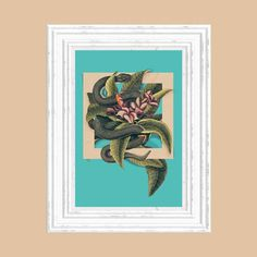 Vintage collage 30x42 cm #print #salmon #snake #square #vintage #poster #flower #collage