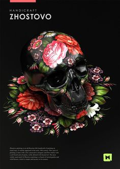Styles of russian folk painting by Sasha Vinogradova, via Behance #folk #design #russian #sasha #art #vinogradova #skull #flowers