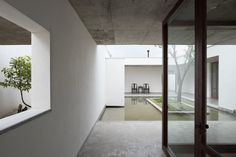 #Courtyard with #pond. #ZhuanResidence by #ZhaoyangArchitects. Photo by #HaoChen.