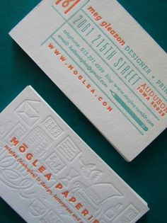 design work life » Meg Gleason's Business Cards #business #card #letterpress #orange #blue #typography