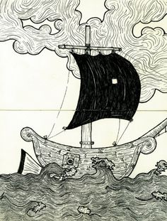bonevictor #draw #wood #sea #ship #boat #moleskine #music
