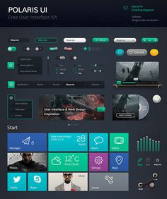 20 Free Useful Dark UI PSD Kits #psd #ui