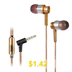 KSD #- #A23 #On-cord #In-ear #Earphones #with #Microphone #- #GOLDEN