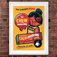 Taco Flavoured Gum #bubble #gum #vintage #poster #taco