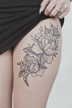 Peony flower thigh tattoo